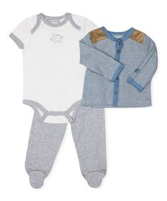 Another great find on #zulily! White Elephant Bodysuit Set - Infant #zulilyfinds