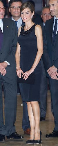 23 Oct 2014 - Prince of Asturias Awards 2014 (Day 1) Queen Letizia wore a beautiful Felipe Varela black cocktail dress to the concert. The dress is adorned with a black crystal mesh neckline which extends to the back.