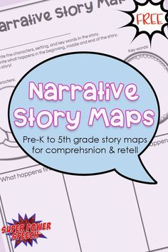 FREE story maps for any narrative! Different pages for different levels! Love these for mixed groups! Vocabulary Activities, Speech Therapy Activities, Speech Language Pathology, Language Activities, Speech And Language, Language Arts, Writing Activities, Narrative Story, Personal Narrative Writing