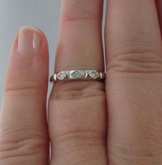 Vintage White Gold Diamond Wedding or Anniversary by Ringtique, $235.00