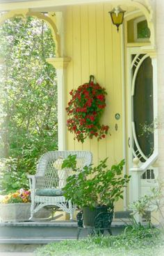 Yellow porch at Sunshine Cottage ~Debbie Orcutt ❤