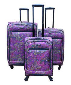 bf010763c9cd Loving this Purple Paisley Three-Piece Wheeled Luggage Set on  zulily!   zulilyfinds