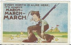 March March March! WWII Humorous Postcard 1942 by ParagonAlley on Etsy