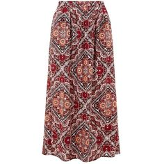 Plus Size Pink Abstract Tile Print Maxi Skirt (£15) ❤ liked on Polyvore