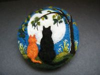 Handmade needle felted brooch 'Scaredy, Ginger and the Summer Moon'  by T.Dunn