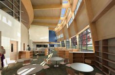Library design from Ms. The Rural Machias Elementary School designed by NAC the US Architect Firm and located on a rural site in the Pilchuck River valley, north of Seattle, WA Traditional Library Furniture, Modern Library Furniture, Library Design, Nyu Library, Library Ideas, The New School, Middle School, Classroom Design, Media Center
