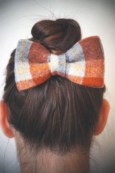 CUTE!     ORANGE Plaid PENDLETON Hair Bow - Limited edition - Hand made hair bow, Orange Plaid, Pendleton wool, Alligator clip. $18.00, via Etsy.