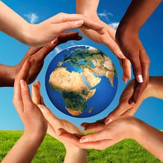 Picture of Conceptual peace and cultural diversity symbol of multiracial hands making a circle together around the world the Earth globe on blue sky and green grass background. stock photo, images and stock photography. World Globes, Cultural Diversity, Racial Diversity, Cultural Competence, Thinking Day, World Peace, Earth Day, Planet Earth, Independence Day