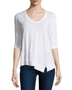 Jethro Slub-Knit Half-Sleeve Tee, White, Women's, Size: XS