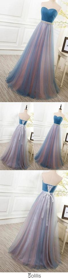 Elegant Tulle Long Vintage Sleeveless Sweetheart Strapless Blue Lace-up Prom Dresses JS778, This dress could be custom made, there are no extra cost to do custom size and color