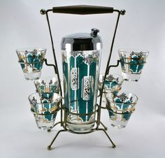 Vintage Mid Century Cocktail Shaker with 6 Cordial Glasses and Caddy | eBay