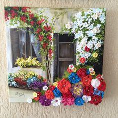 Porta, janela e jardineira florida - Tela em canvas, 40 x 40 cm, textura com massa acrílica, pintura em PVA, flores de crochet e chaton colorido.