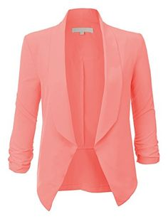 RubyK Womens Lightweight Ruched 3/4 Sleeve Open Front Blazer Jacket RubyK http://www.amazon.com/dp/B00SIGMQKK/ref=cm_sw_r_pi_dp_2mp0ub05JCPC0