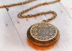 Dark Gold Locket Antique Locket Jewelry Pendant Locket Necklace Victorian Edwardian Jewellery Gift for Her