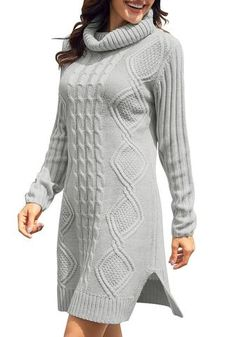 Be so pretty even when it's windy as you wear this grey turtleneck cable knit side slit pullover sweater dress with your light makeup and heeled booties. Grey Turtleneck, Long Sleeve Turtleneck, Tunic Sweater, Pullover Sweaters, Cable Knit, Winter Fashion, Turtle Neck, Knitting, Stylish