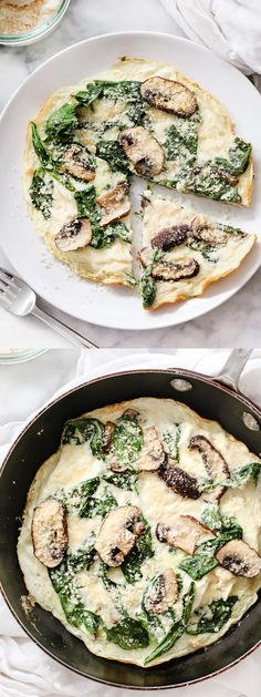 Spinach and Mushroom Egg White Frittata is a healthy breakfast for one | foodiecrush.com