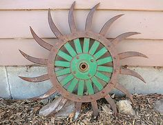 "Antique Vintage Metal 20"" JD Green Rotary Hoe Wheel Gear Old Farm Rustic Art!"