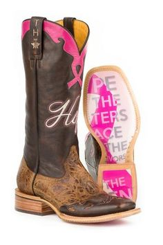 Tin Haul Hope Staying Strong Ladies Brown Leather Cowboy Boots