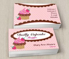 Colorful cupcakes business card templates cupcake shaped business doilly cupcake business cards this cute business card design is available for customization wajeb Images