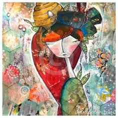 dang! who doesn't like a little honey! honeyGIRL. a mixed media original. she by Danielle Donaldson Art, $125.00