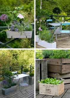 cute patio with different planters