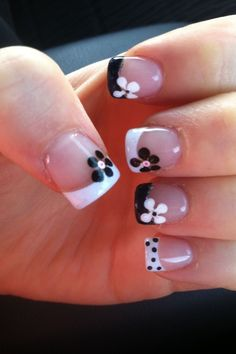 French Tip Nail Designs, Flower Nail Designs, Nail Art Designs, Nails Design, Snowflake Designs, French Nails, French Pedicure, Fingernail Designs, Manicure E Pedicure