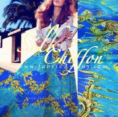 Blue wedding dress. Ocean Blue Silk Chiffon Palm Leaves by fabricAsians on Etsy