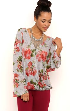 Deb Shops Long Sleeve Floral Print Hatchi Top with Bubble Hem and Open V-Back $17.15