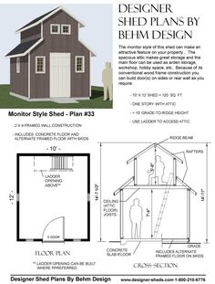 Shed plans lean to and sheds on pinterest for Clerestory style shed plans