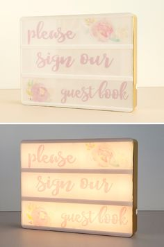 Learn how to print your own custom sayings for the Heidi Swapp Lightbox! How cute is this guestbook sign?!