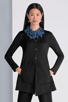 See Two Jacket - Black by Spirithouse: Knit Jacket available at www.artfulhome.com