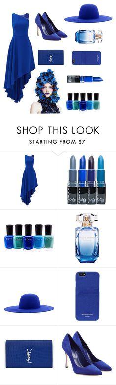 """A Bit Blue"" by nineties-wallflower ❤ liked on Polyvore featuring Halston Heritage, Zoya, Elie Saab, Études, MICHAEL Michael Kors, Yves Saint Laurent, Sergio Rossi, Blue, NightOut and MyStyle"