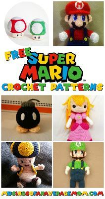 Free Super Mario crochet patterns I love Mario, when my brother got a Nintendo as a kid I was so excited, and now my son is playing it on my Wii, I think Mario has popularity will last decades. Minion Crochet Patterns, Minion Pattern, Pokemon Crochet Pattern, Amigurumi Patterns, Crochet Minions, Disney Crochet Patterns, Crochet Disney, Crochet Gratis, Crochet Dolls