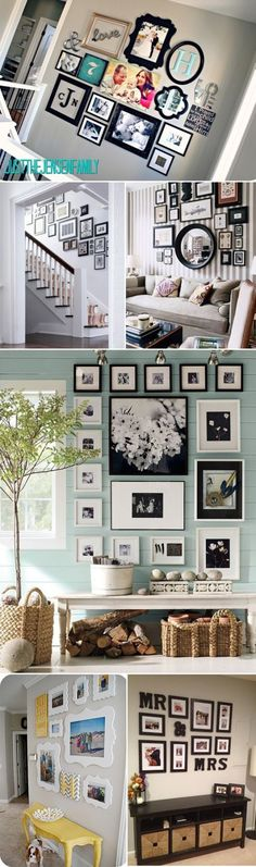 gallery walls, great layouts - sublime decor.love the black and whites on the blue wall