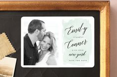 """""""An Angle"""" - Modern Save The Date Magnets in Seafoam by Susan Brown."""