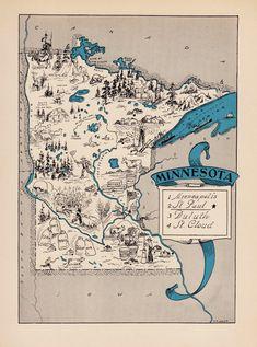 Original Vintage Design Minnesota Map on Canvas Hand by BentNorth ...