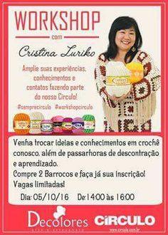 Venha participar ! Aguardamos vocês para esse lindo workshop com Cristina Luriko !