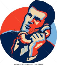 Illustration of a businessman in suit and tie on phone talking on vintage telephone facing front set inside circle done in retro style. - stock vector #businessman #retro #illustration