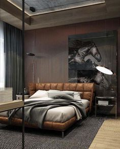Cool Masculine Bedroom For Mens With Wall Wardrobe
