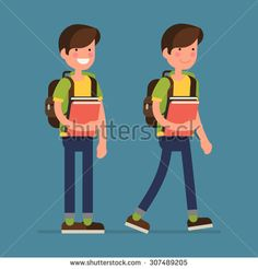 Cool vector flat design friendly smiling smart little boy kid character standing and walking with backpack, holding school books | Primary schoolboy full length basic poses - stock vector