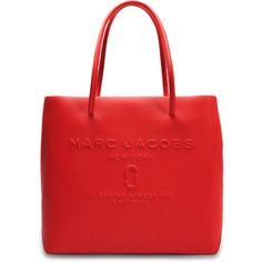 Marc Jacobs EW Logo Shopper ($295) ❤ liked on Polyvore featuring bags, handbags, tote bags, red, logo tote, red handbags, red purse, marc jacobs handbags and marc jacobs shopper