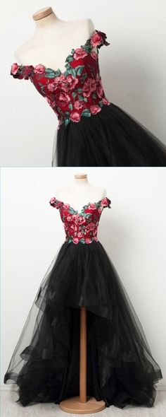 New design black tulle off shoulder red embroider high low homecoming dress, party dress #dress