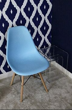 Amazon.com - 2xhome - Set of Two (2) Blue - Eames Style Side Chair Natural Wood Legs Eiffel Dining Room Chair - Lounge Chair No Arm Arms Armless Less Chairs Seats Wooden Wood Leg Wire Leg Dowel Leg Legged Base Chrome Metal Eifel Molded Plastic - Chairs