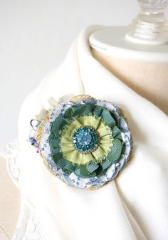 Fabric Flower Brooch - Blue and Green Bloom with a Sparkling Vintage Jewel Centerpiece