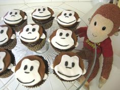Curious George cupcakes - you can always buy pre-dyed fondant......