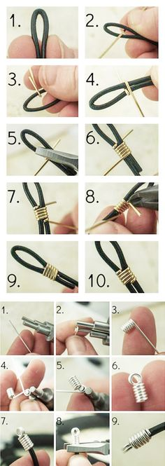How to Finish Leather Cord with Wire jewelry crafts Lederband mit Draht veredeln Wire Wrapped Jewelry, Wire Jewelry, Beaded Jewelry, Jewelery, Beaded Bracelets, Copper Jewelry, Silver Bracelets, Recycled Jewelry, Necklaces