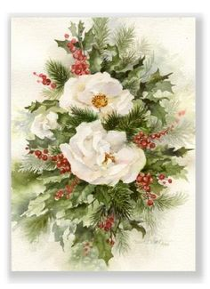 Christmas Roses Watercolor Christmas Greeting Card by Susie Short