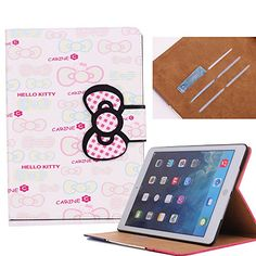 Dakotacase Soft Stand Case for iPad (Book style) Cute Hello Kitty Flip Wallet PU Leather Case With Credit Card ID Slots Protective Case Cover For Apple iPad iPad 6 Free Gift Stylus in Random Color (KT Cat Ipad Air 2 Cases, Ipad Case, Leather Case, Pu Leather, Stylus, Apple Ipad, Protective Cases, Free Gifts, Cell Phone Accessories