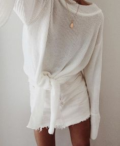 all white summer outfit casual party tied up sweater and denim skirt