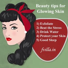 ‪#‎TipoftheDay‬ : Beauty tips for Glowing Skin!! Book your Next Salon/Spa Appointment @ http://fvilla.in/